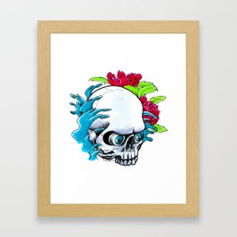 Skull and Waves Framed Art Print