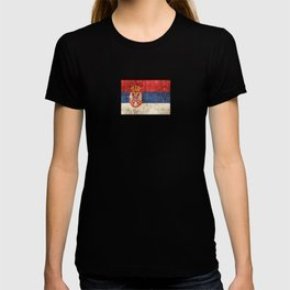 Vintage Aged and Scratched Serbian Flag T-shirt