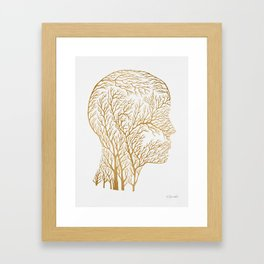 Head Profile Branches - Gold Framed Art Print