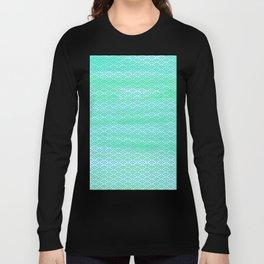 Magic Sea Watercolor Seigaiha Pattern Long Sleeve T-shirt