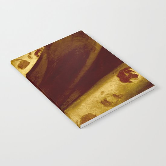 golden drape with marsala flowers Notebook
