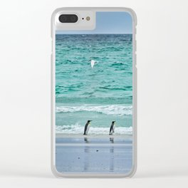 Falkland Island Seascape with Penguins Clear iPhone Case