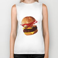 hamburger Biker Tanks featuring Hamburger by Hikkaphobia