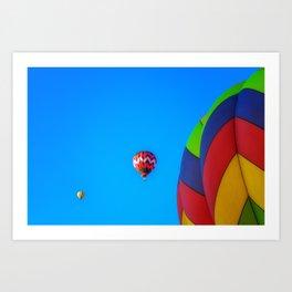Flying Away hot air balloons Art Print