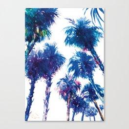 Blue Palms, california, palm tree, palms art, navy blue beach palm Canvas Print