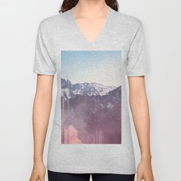 Glitched Mountains Unisex V-Neck