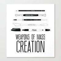 weapons of mass creation Canvas Prints featuring Weapons Of Mass Creation by Jconner