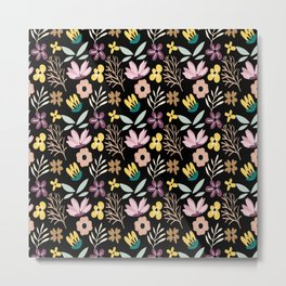 Flower, Branches and Leaves Pattern Metal Print