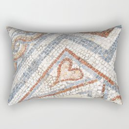 Mosaic Heart | Cute Red Blue and White Tile Old World Charming Decorative Cool Stone Photograph Rectangular Pillow