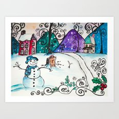Holly Sled Art Print