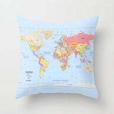 Political Map of The World - I Throw Pillow