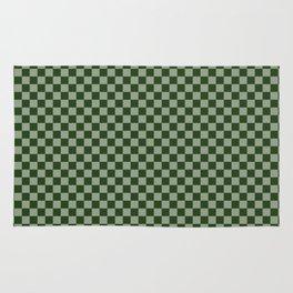 Dark Forest Green Checkerboard Pattern Rug
