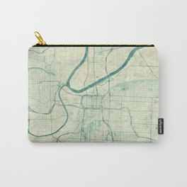 Kansas City Map Blue Vintage Carry-All Pouch