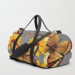 GREY ART BUTTERFLIES & YELLOW SUNFLOWERS NATURE Duffle Bag