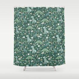 Folk Floral Dinosaur Shower Curtain