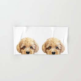 Toy poodle Dog illustration original painting print Hand & Bath Towel