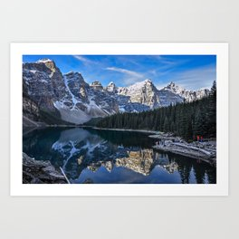 Reflections in the morning at lake Moraine Art Print