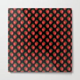 Fresh Bright Red Strawberries on Black Pattern Metal Print