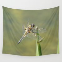 dragonfly Wall Tapestries featuring Dragonfly  by Loods23