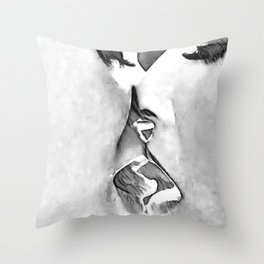Girls Love - sexy lesbian girls kissing, black and white kinky erotic, hot gay woman Throw Pillow
