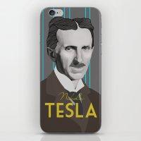 tesla iPhone & iPod Skins featuring Tesla by DariyCraft