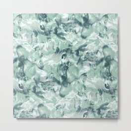 Marble Mist Green Grey Metal Print