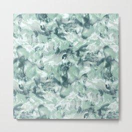 Marble Mist Green Grey Metal Print