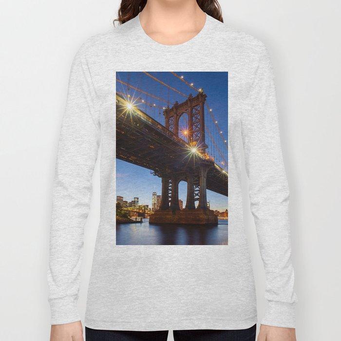 Manhattan Bridge Light night Long Sleeve T-shirt