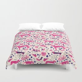 Park dogs in Pink Duvet Cover