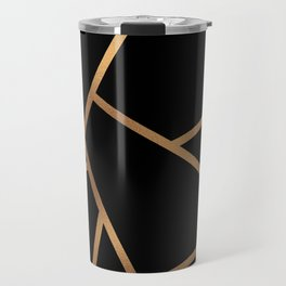 Black and Gold Fragments - Geometric Design Travel Mug