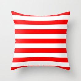 Horizontal Stripes (Red/White) Throw Pillow