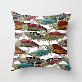 Alaskan salmon white Throw Pillow
