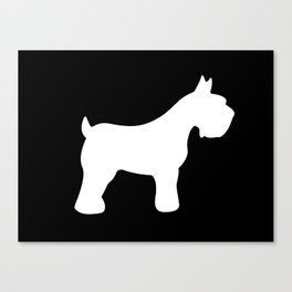 White Schnauzers - Simple Dog Silhouettes Pattern Canvas Print