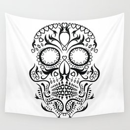 Day of the Dead Skull - Hearts Wall Tapestry