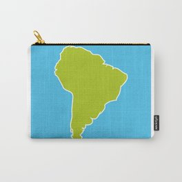 South America map blue ocean and green continent. Vector illustration Carry-All Pouch