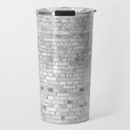 White Washed Brick Wall - Light White and Grey Wash Stone Brick Travel Mug