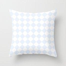 Diamonds - White and Pastel Blue Throw Pillow