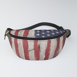 Wood American flag Fanny Pack