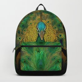 """Emerald and black peacock"" Backpack"