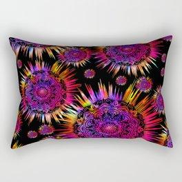 Psychedelic Glowing Mandalas Blue Purple Pink Rectangular Pillow