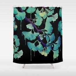 O Ginkgo (on Black) Shower Curtain