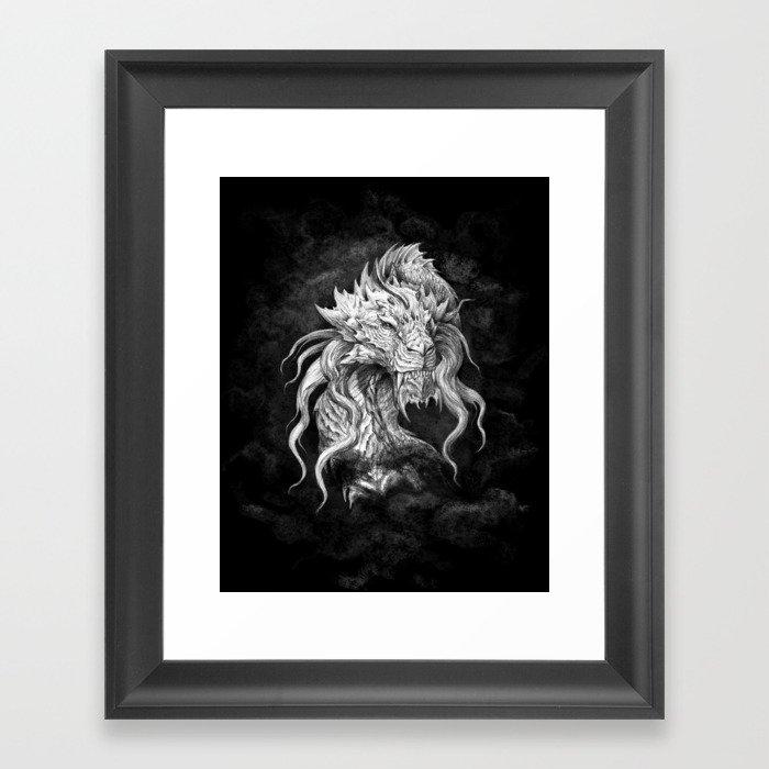 Dark Side Japanese Dragon portrait on black background | Graphit Framed Art Print