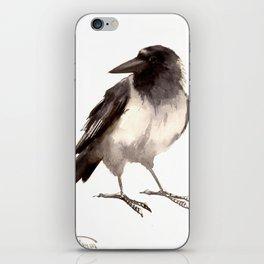 Crow decor, hooded crow art iPhone Skin
