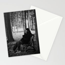 Bearded Man on Bench Stationery Cards