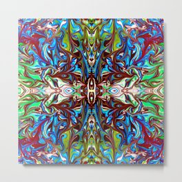 Colorful Abstract  Marbling ,Pattern Tradional Metal Print