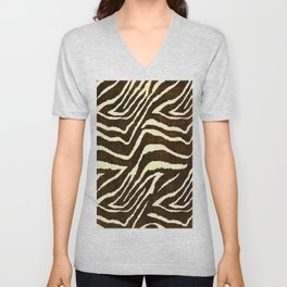 Animal Print Zebra in Winter Brown and Beige Unisex V-Neck