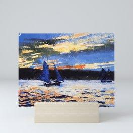 Winslow Homer's Gloucester Sunset nautical maritime landscape painting with sailboat - sailing Mini Art Print