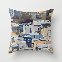 blue yellow grey and brown geometric graffiti painting abstract background Throw Pillow