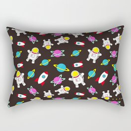 Space Odyssey in Black | Floating Astronauts | Rockets Rectangular Pillow