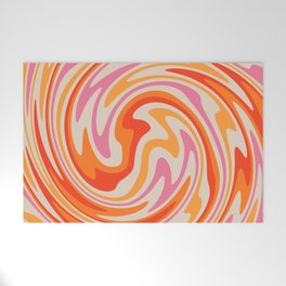 70s Retro Swirl Color Abstract Welcome Mat